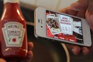 Example of Blippar app showing Heinz label and AR version.