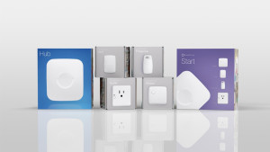 The new range of SmartThings devices, including the second generation hub.