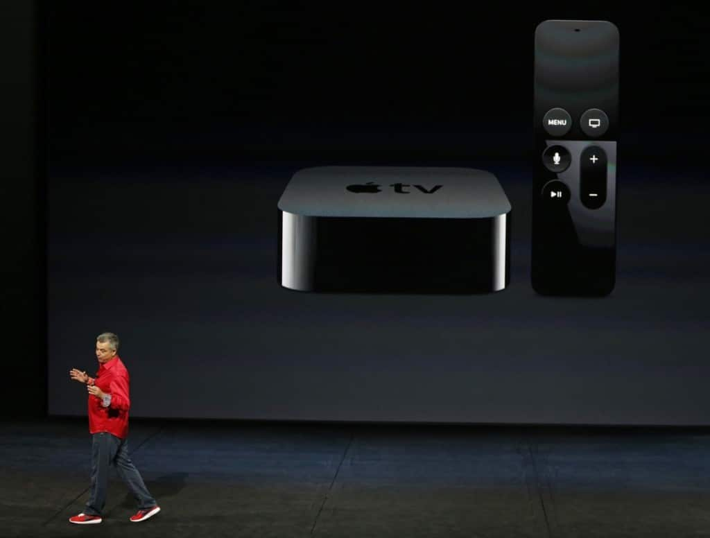Apple's Eddie Cue showing off the newest Apple TV during their Sept 9 2015 special event.