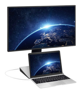 "BenQ 27"" Monitor allows a laptop to sit below the screen for a two-monitor arrangement."
